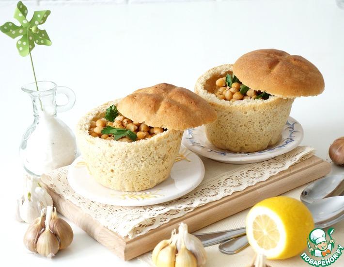 Рецепт: Суп из нута в хлебном горшочке