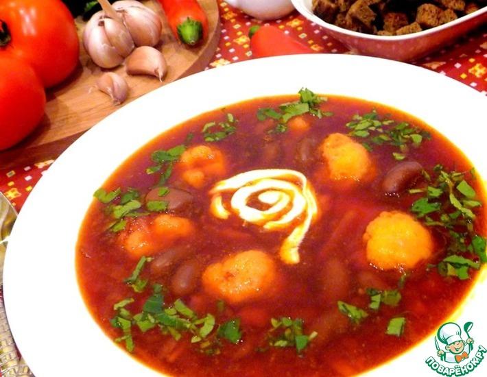 Рецепт: Суп свекольный с фасолью и гренками
