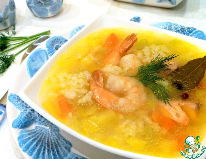 Рецепт: Рыбный суп с рисом и креветками