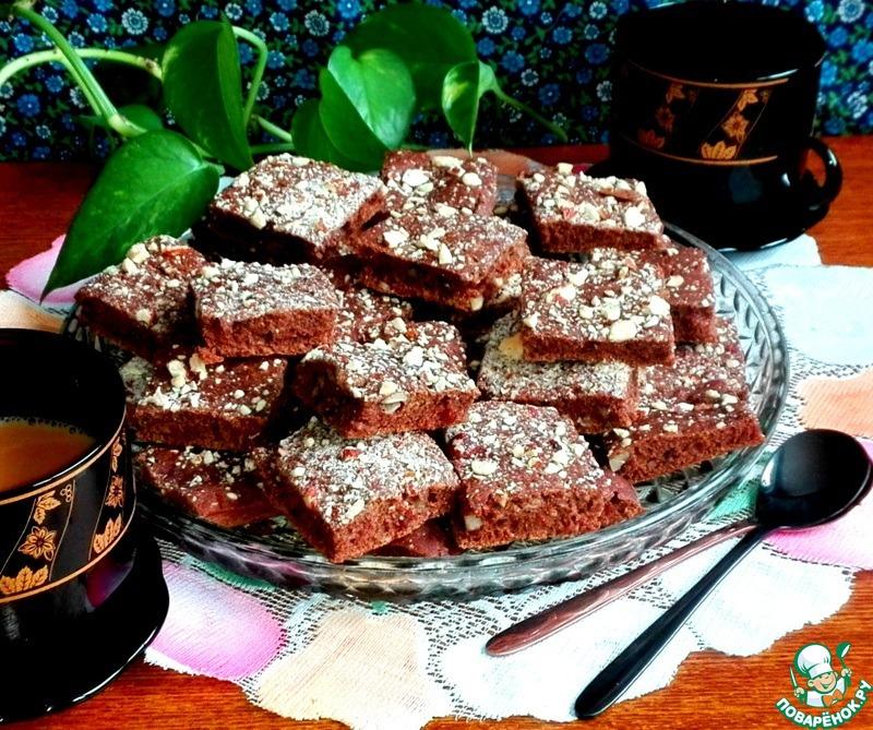 Постное печенье с какао и миндалём