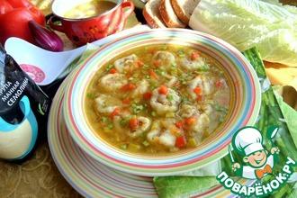 Рецепт: Суп с рулетиками на семолине