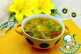 Рецепт: Суп с пшеном и маринованными огурцами