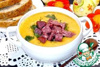 Рецепт: Чечевичный крем-суп с колбасой