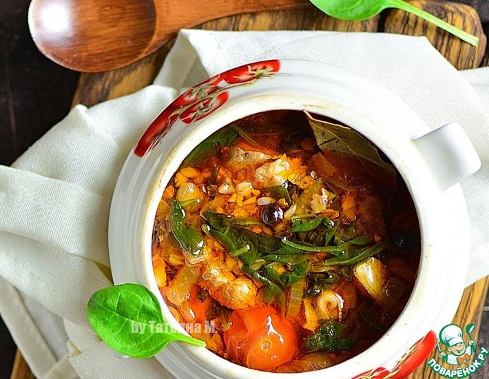 Рецепт: Гречневый суп с бараниной в духовке