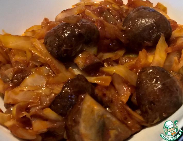 Рецепт: Жареная капуста с грибами