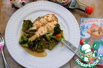 Рецепт: Лосось с овощами в соево-горчичном соусе