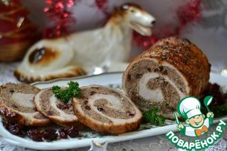 Рецепт: Мясной рулет с гречкой Новогодний