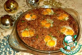 Рецепт: Гречка с куриной печенью и яйцами