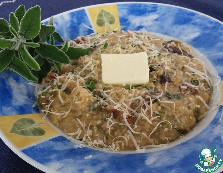 Рецепт: Ячневая каша со спаржей и грибами