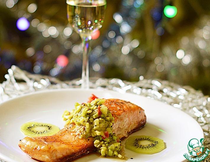 Рецепт: Лосось с сальсой из авокадо и киви