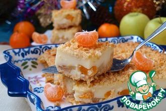 Рецепт: Пирог с мандаринами, яблоками и пудингом