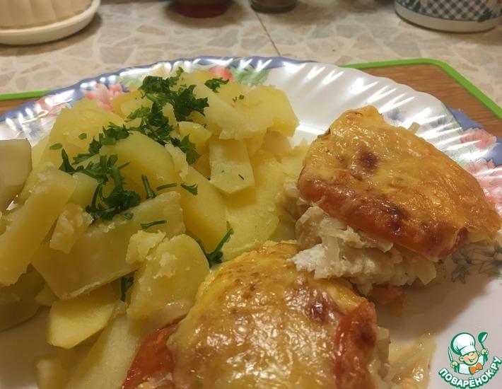 Рецепт: Морской окунь с помидорами