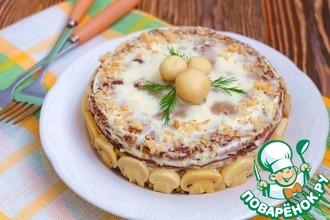 Рецепт: Торт-салат Печеночно-ореховый