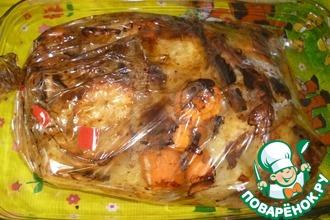 Рецепт: Курица с овощами в рукаве