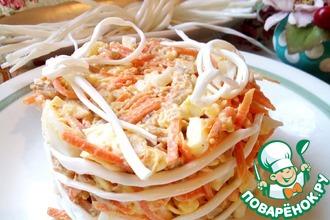 Рецепт: Салат с сулугуни и корейской морковью