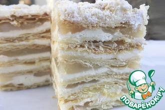Рецепт: Торт Наполеон с яблочной прослойкой