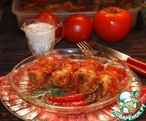 Spicy stuffed cabbage rolls in a Mediterranean style
