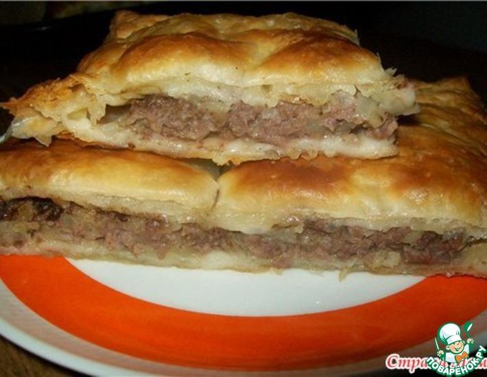Рецепт: Пирог из слоеного теста с мясом