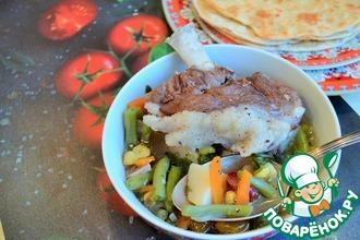 Рецепт: Суп с бараниной, кукурузой и фасолью