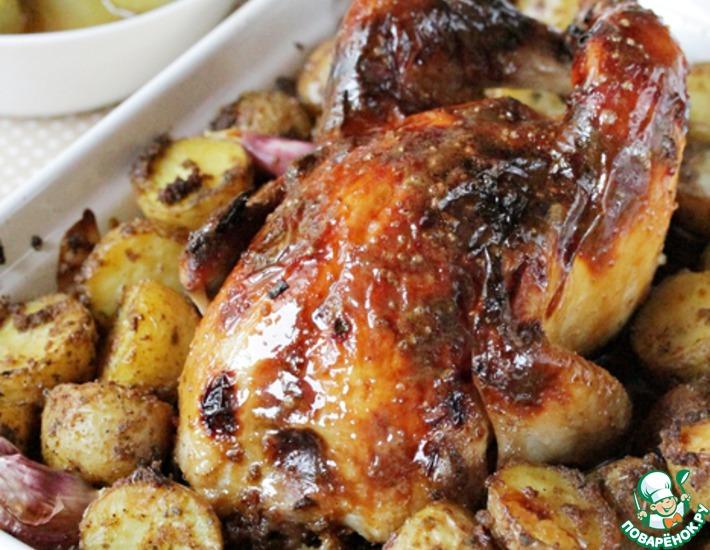 Рецепт: Курица в глазури из соевого соуса