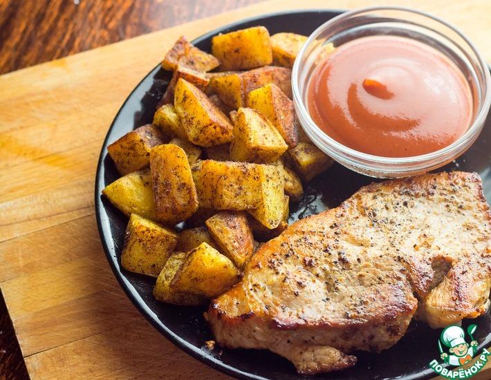 Рецепт: Жареная свинина с пряным картофелем