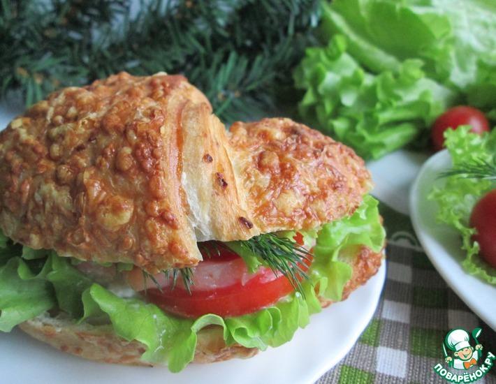 Рецепт: Круассан-сэндвич с лососем
