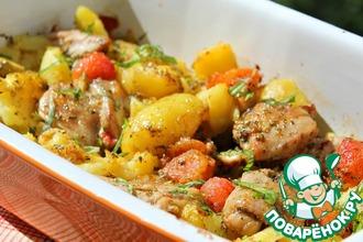 Рецепт: Куриные бедра с молодым картофелем