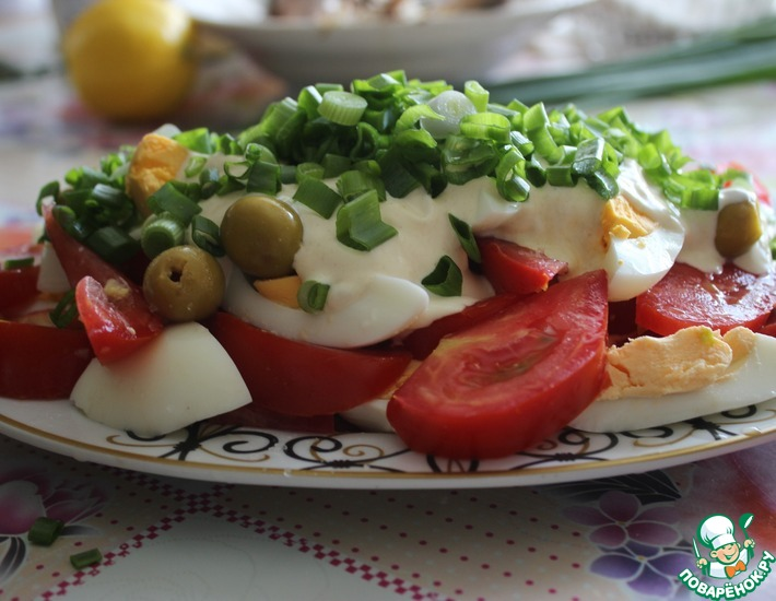 Рецепт: Салат из яиц и помидоров