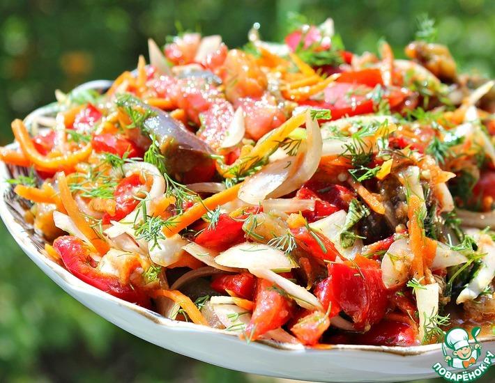Рецепт: Салат с баклажанами и морковью по-корейски