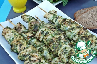 Рецепт: Куриные шашлычки в зеленом маринаде