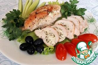 Рецепт: Куриные кармашки с творожной зеленью