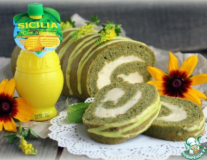 Рецепт: Мятный рулет с лимонным суфле