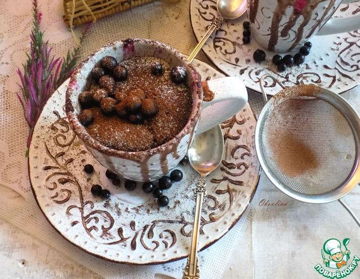 Рецепт: Бисквитный шоколадный кекс из СВЧ