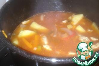 Рецепт: Азу по-татарски с солеными огурцами