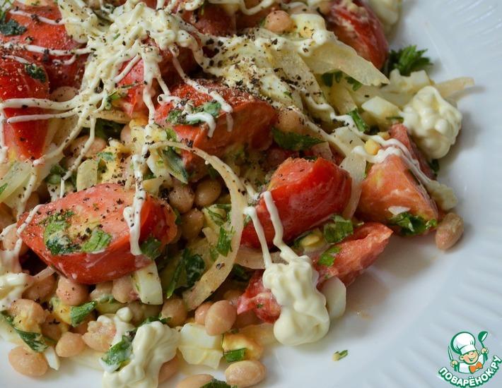 Рецепт: Салат фасолевый с помидорами