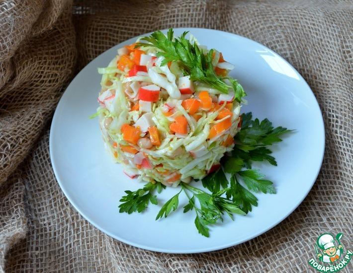 Рецепт: Салат овощной с крабовыми палочками