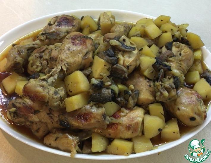 Рецепт: Куриные голени с грибами и картофелем