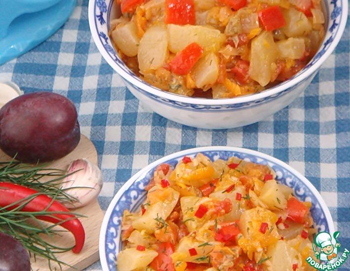 Рецепт: Тушеные кабачки с овощами и сливой