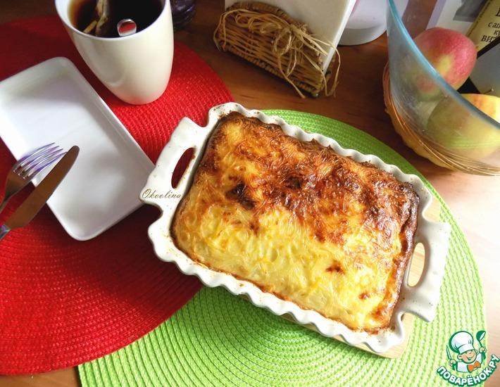 Рецепт: Вермишелевая запеканка с овощами и колбасой