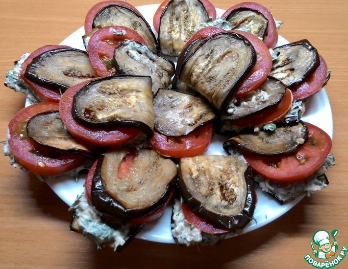 Рецепт: Закуска Тещин язык со сметаной и орехами