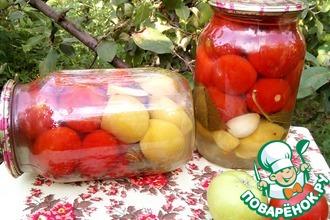 Рецепт: Маринованные помидоры с яблоками без уксуса