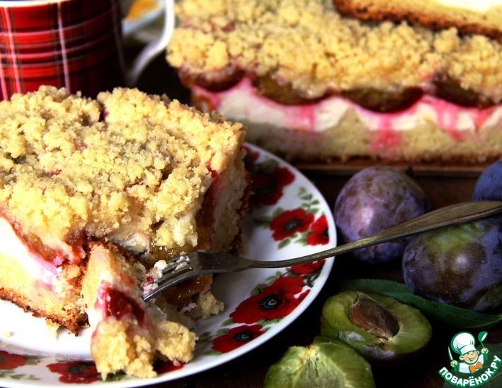 Рецепт: Баварский пирог с творогом и сливами