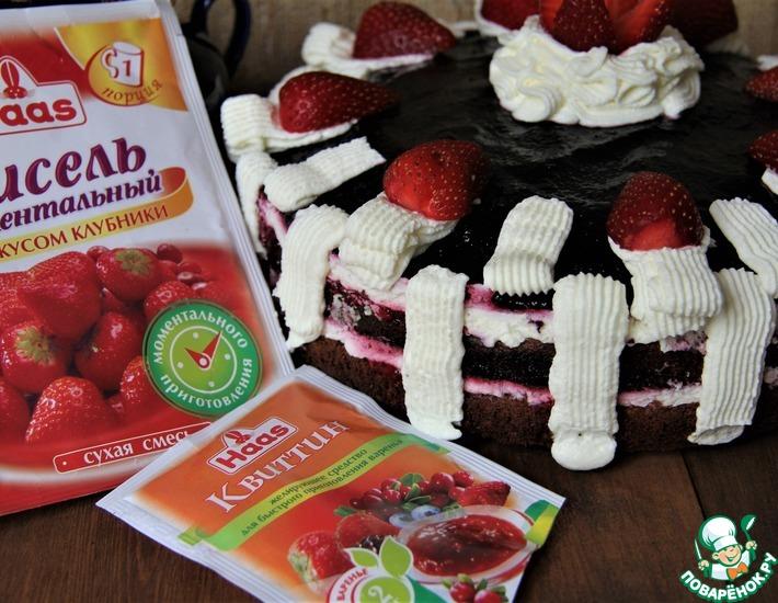 Рецепт: Летний торт Красное и черное