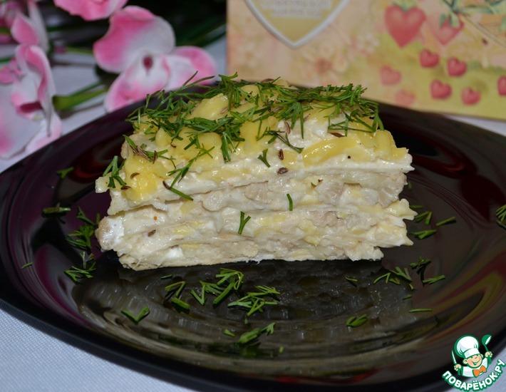Рецепт: Закусочный торт из лаваша