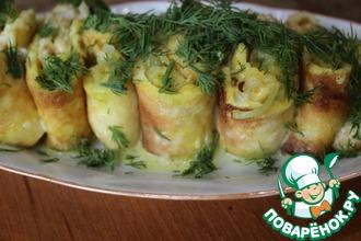 Рецепт: Яичные рулетики с капустой