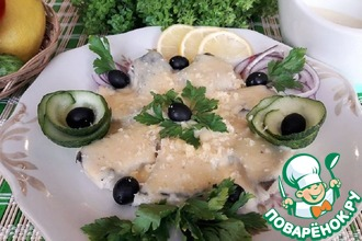 Рецепт: Рыба под молочно-сливочным соусом