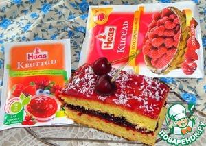 Рецепт: Бисквитное пирожное с вареньем и желе