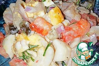 Рецепт: Макаронный салат с копченой рыбой