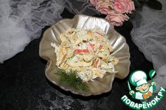 Рецепт: Крабовый салат с яичными блинчиками