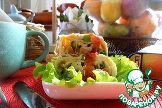 Рецепт: Яичные роллы с овощами на завтрак